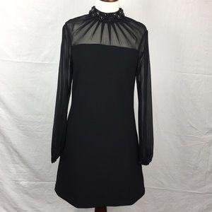 Ted Baker Black Cacey Sheer Embellished Midi Dress